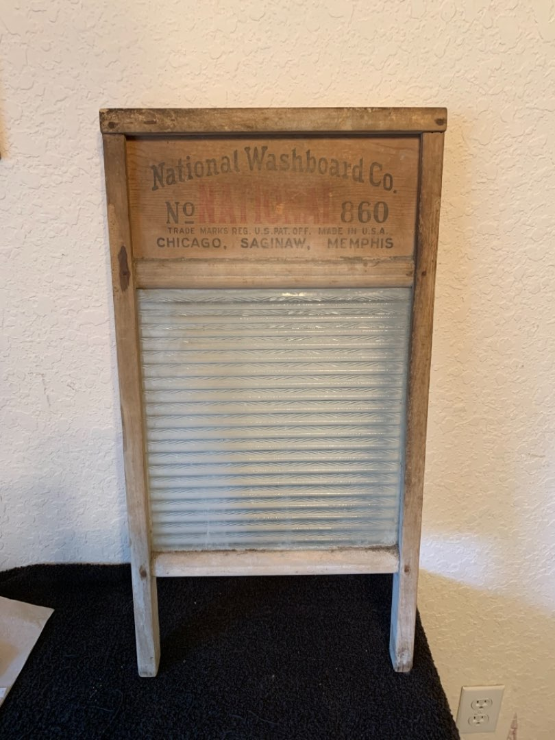 Lot # 189  Large Vintage Glass National Washboard Co. Nice Overall Condition