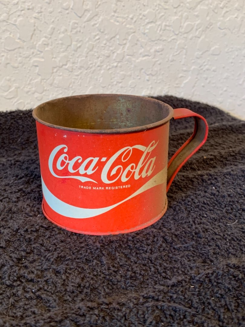 Lot # 197  Vintage Coca Cola Tin Cup Mug