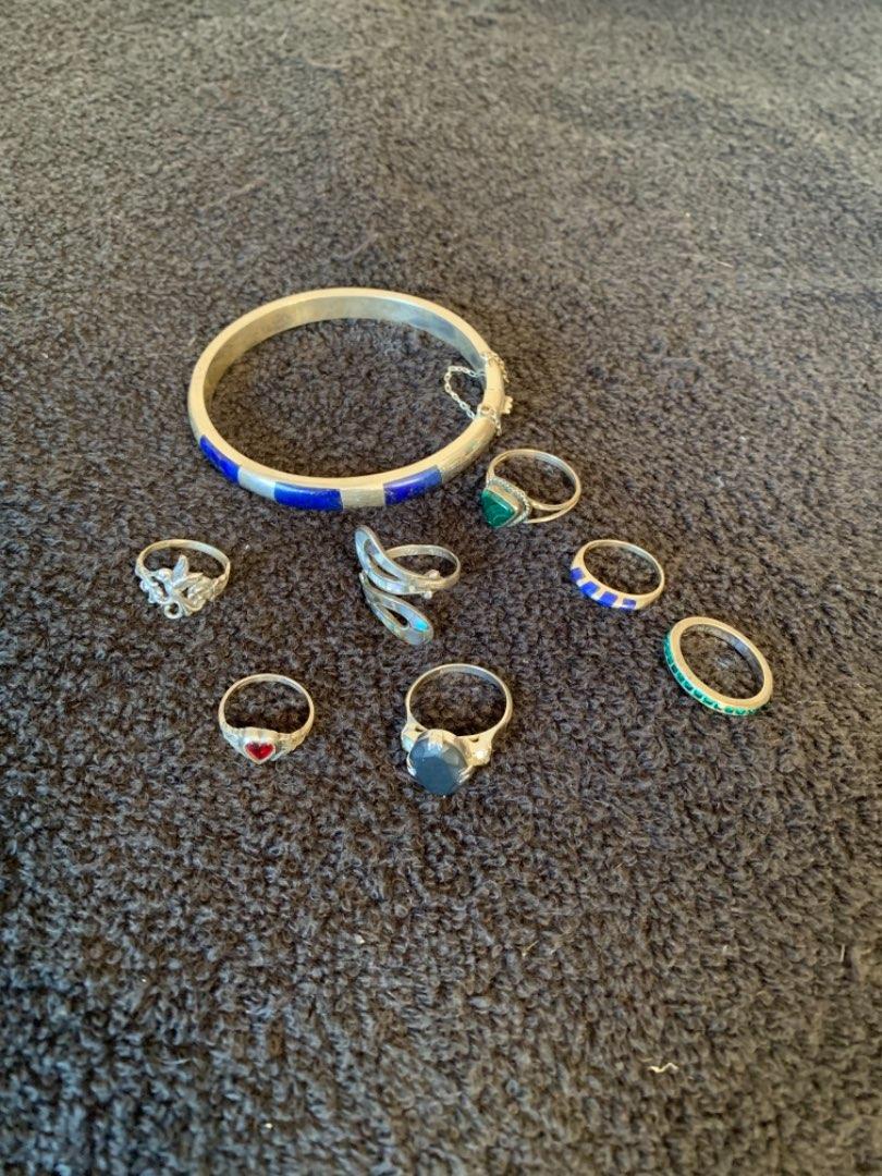 Lot # 204 Lot Sterling Silver Rings & Bracelet. 29.46 Grams. See Below