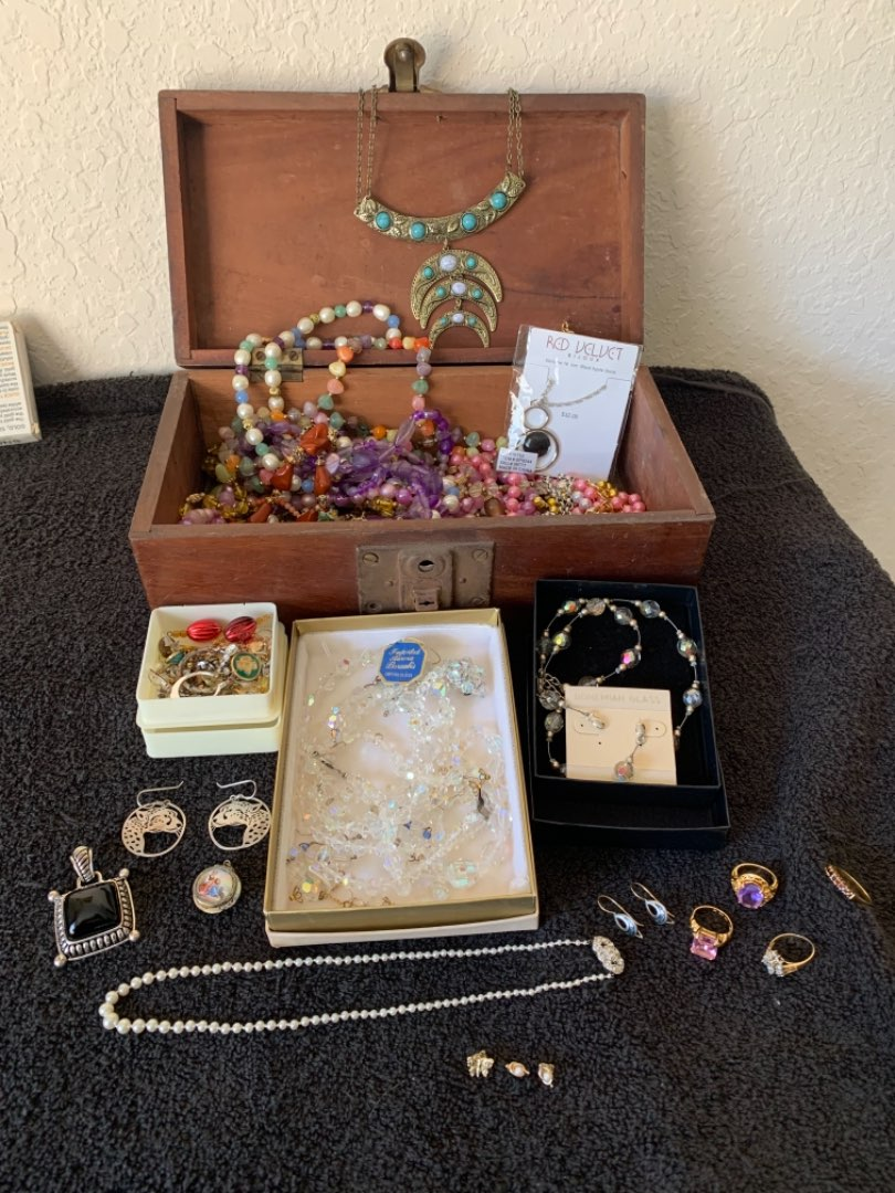 Lot # 212 Antique Box With Loads Of Jewelry. 14K & Sterling Too! See Below