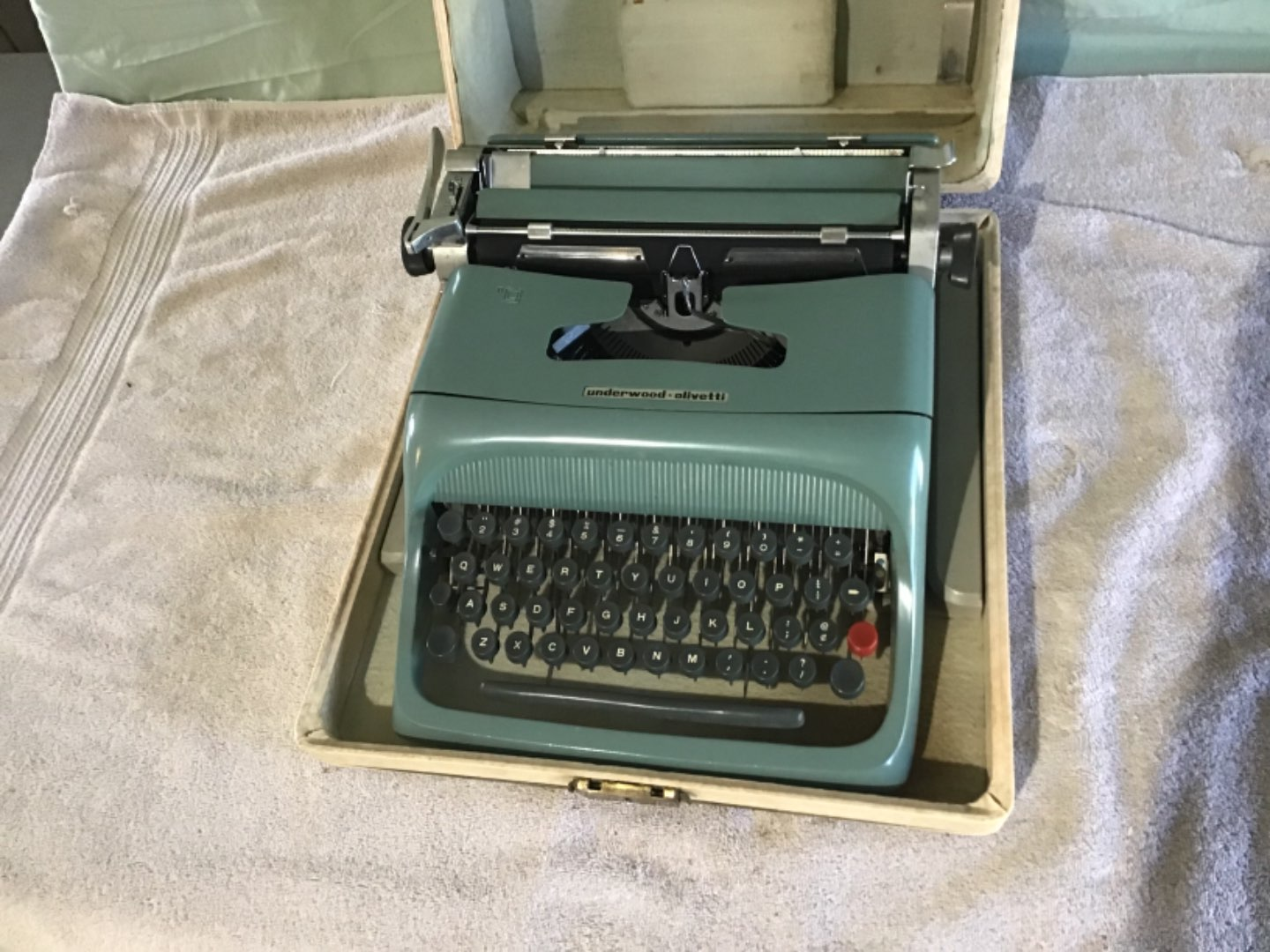 Lot # 216 Vintage Underwood - Olivetti Portable Typewriter in Original Case - Very Clean - VG Condition