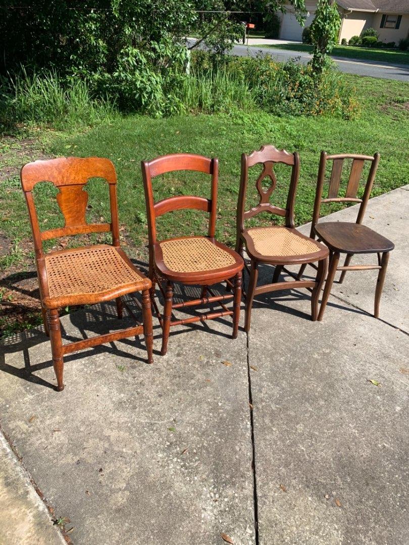 Lot # 217  4 Mismatched Antique Chairs