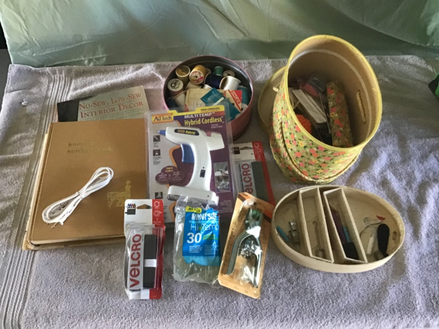 Lot # 218 Nice Big Sewing Lot - Everything from Thread to Glue Gun! Vintage Singer Sewing Book, etc.