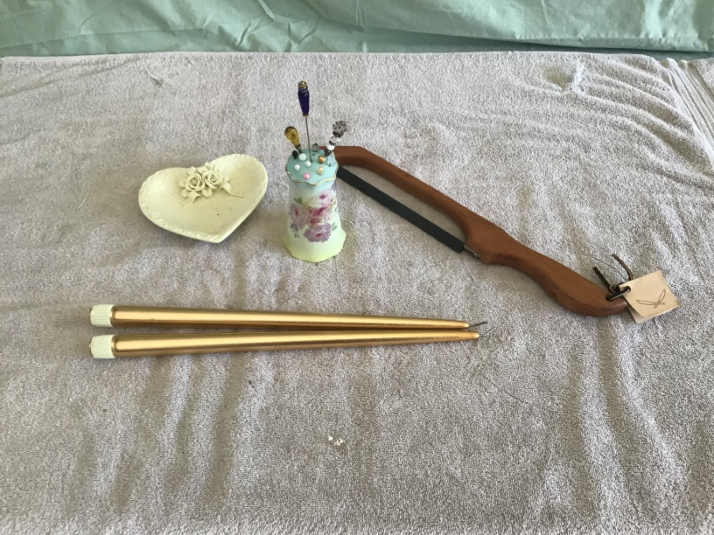 Lot # 220 Nice Collection - Vintage Hand-Painted Hatpin Holder, Bow Saw for Bread Cutting, Jewelry Dish, Butane Candles