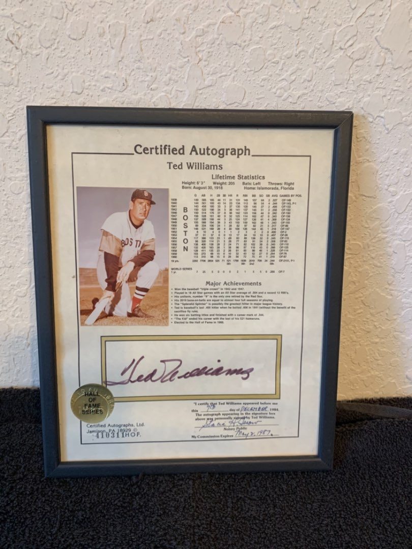 Lot # 223 Certified Ted Williams Autograph & Lifetime Statistics. Nice!