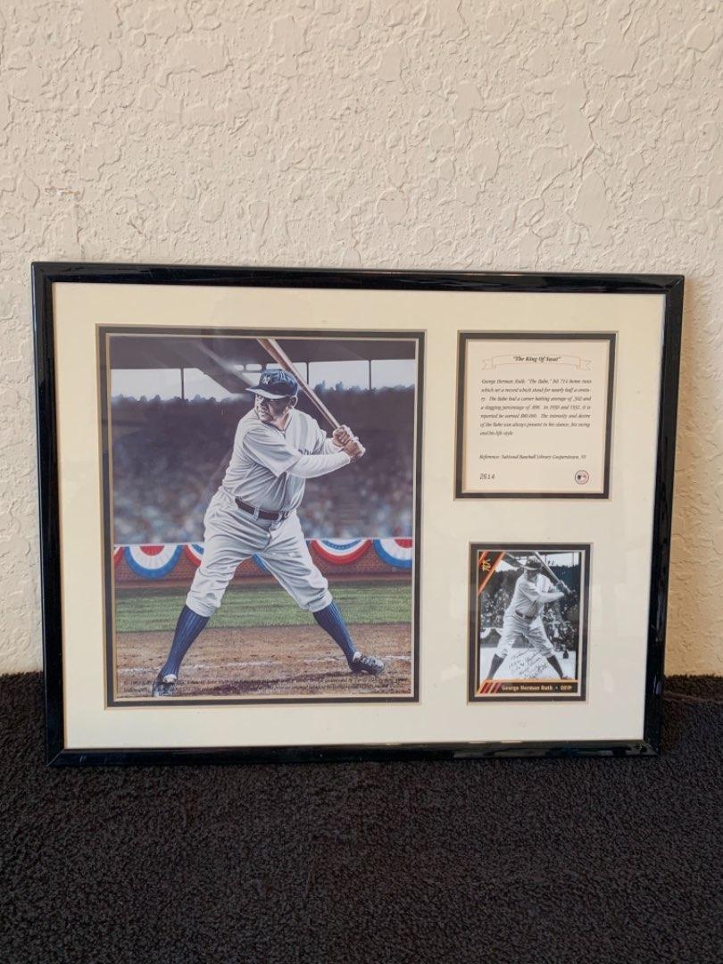 Lot # 224  Nice Framed Babe Ruth Baseball Memorabilia