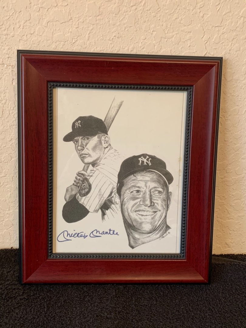 Lot # 225  Framed Mickey Mantle Print