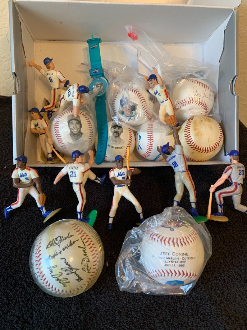 Lot # 227 Great Lot Signed Baseballs, Mets Figures, Etc..See Below