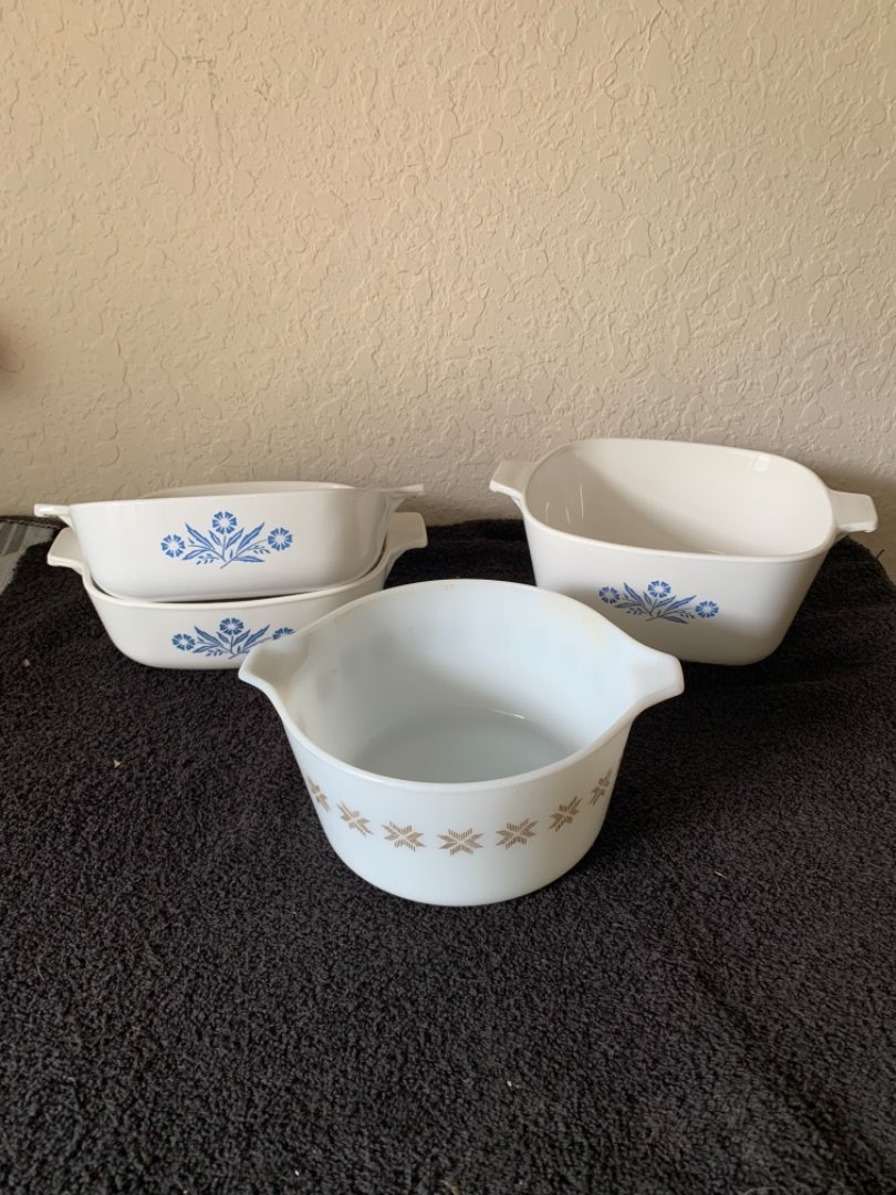 Lot # 233   4 Clean Pieces Pyrex & Corning Ware. No covers.