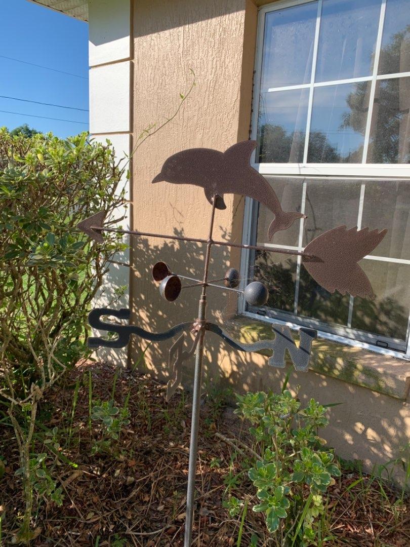 Lot # 240 Metal Dolphin Weathervane. Garden/Yard Decor. Complete