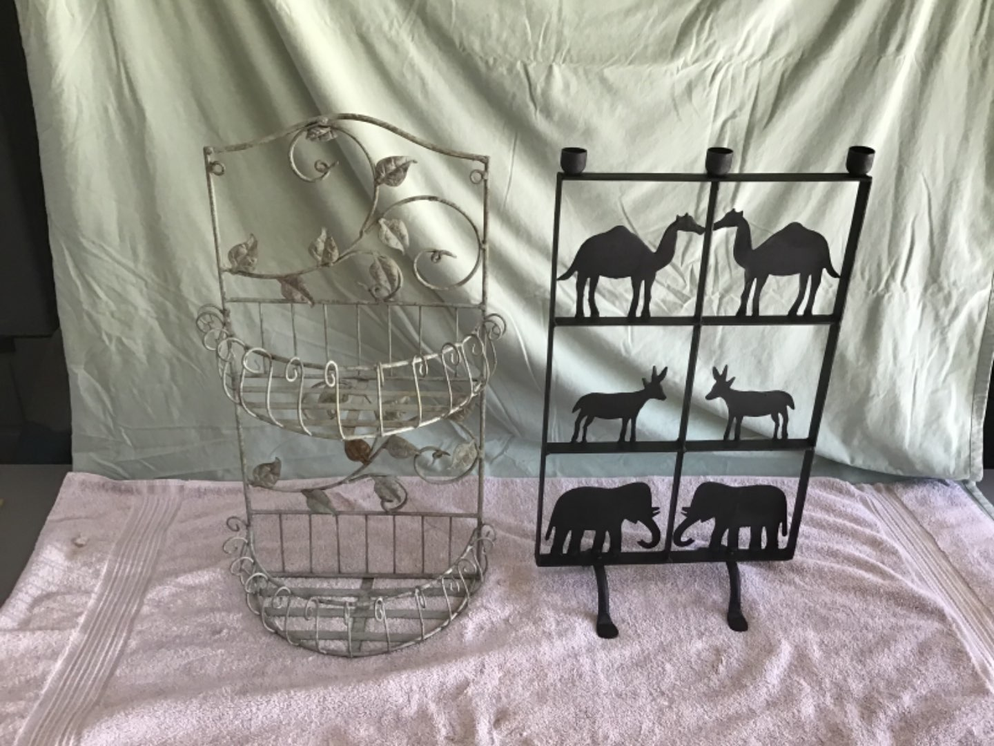 Lot # 241 Two Nice Metal Ornamental Wall-Hanger & Free-Standing Pieces - Animals Candle Holder, & Plant Holder