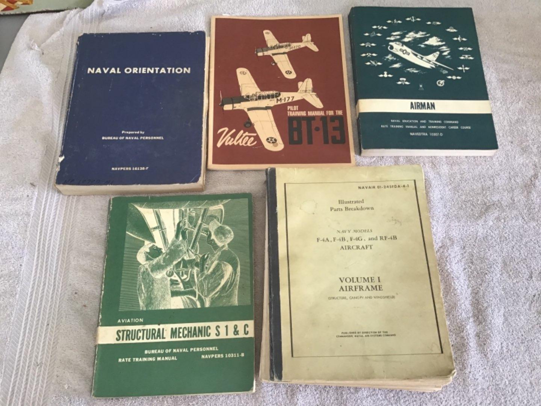 Lot # 245 A Second Lot of Vintage Navy Flight Manuals, Logs, Maintenance, etc. See Below