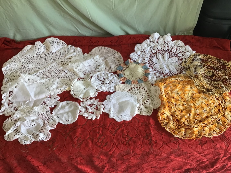 Lot # 246 Beautiful Lot of Handmade Crocheted Circular Doilies!