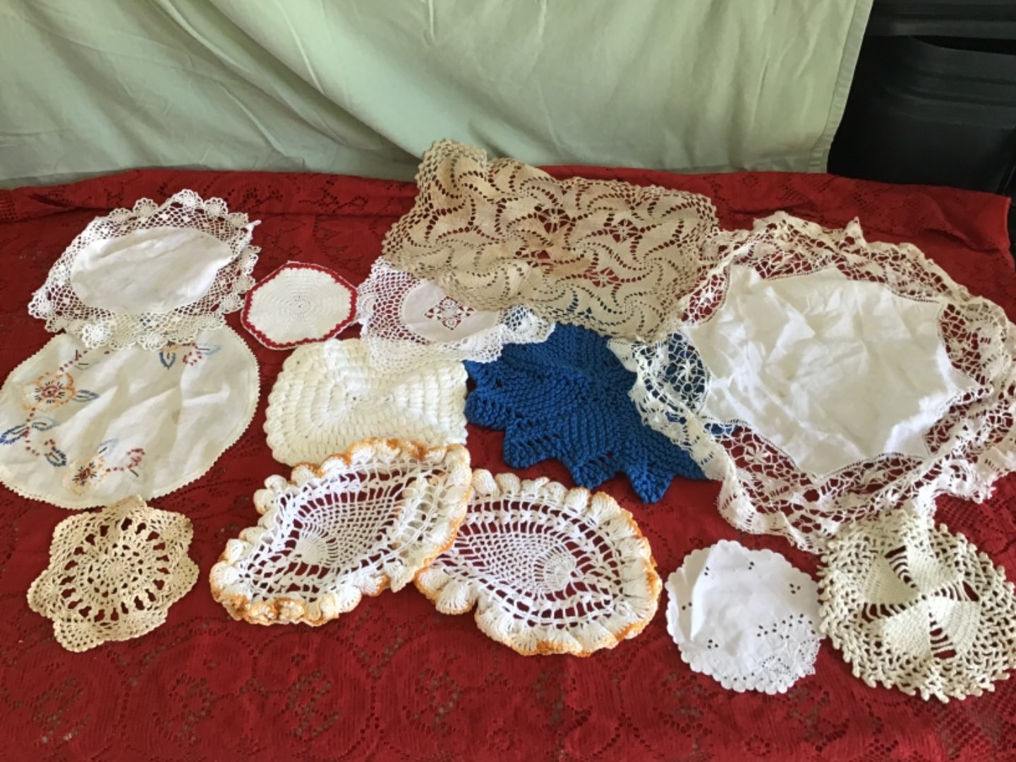 Lot # 247 More Hand-Crocheted Circular Doilies, 2 w/Pineapple Design, & some Embroidery!