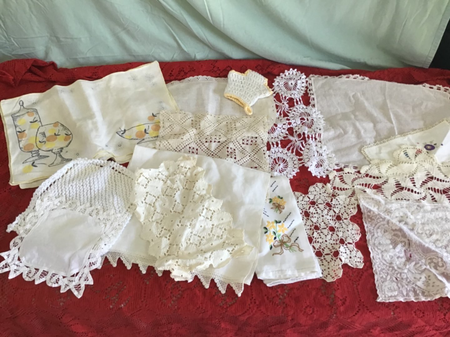 Lot # 249 Final Lot of Old Doilies - Some Linen, Some Embroidered, Some Squares, Table Runners, etc.