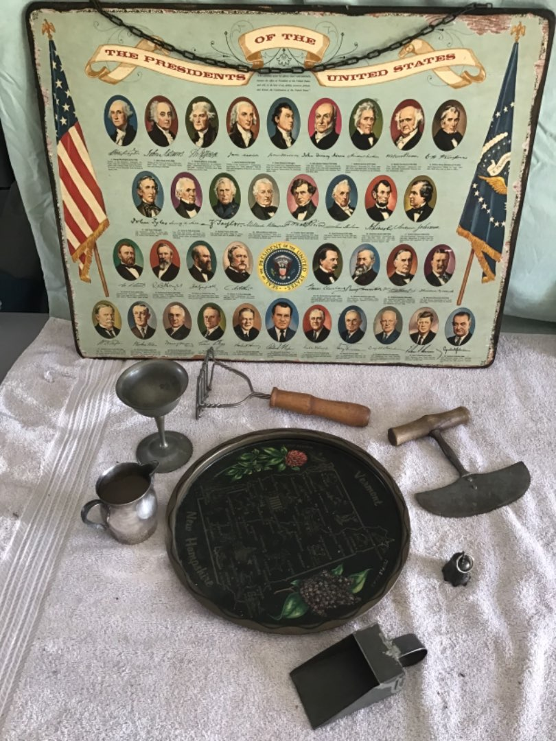 Lot # 257 Everything Here - Hand-Painted Tray, Old Kitchen Tools, Schoolhouse Pictorial Presidents thru LBJ, Pewter Goblet, etc