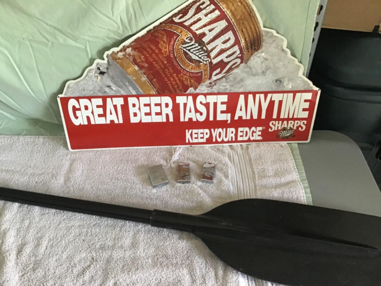Lot # 258 Beer Sign, 3 Zippo's (USS Constellation, Texaco, etc), Homemade Paddle -