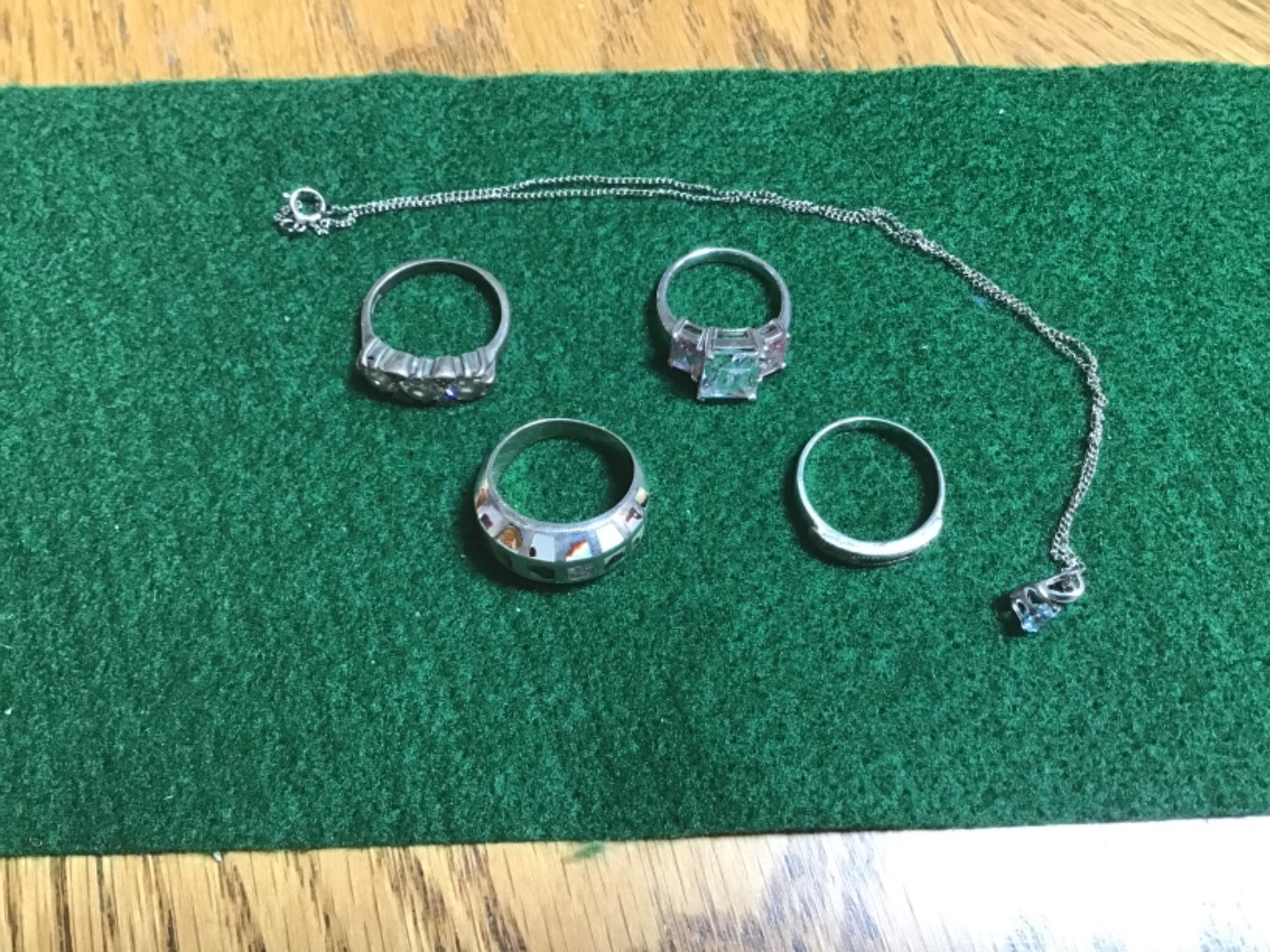 """Lot # 259 Nice Lot of STERLING SILVER! Four (4) Rings & 16"""" Necklace w/Gemstone - 21.22 TGW"""