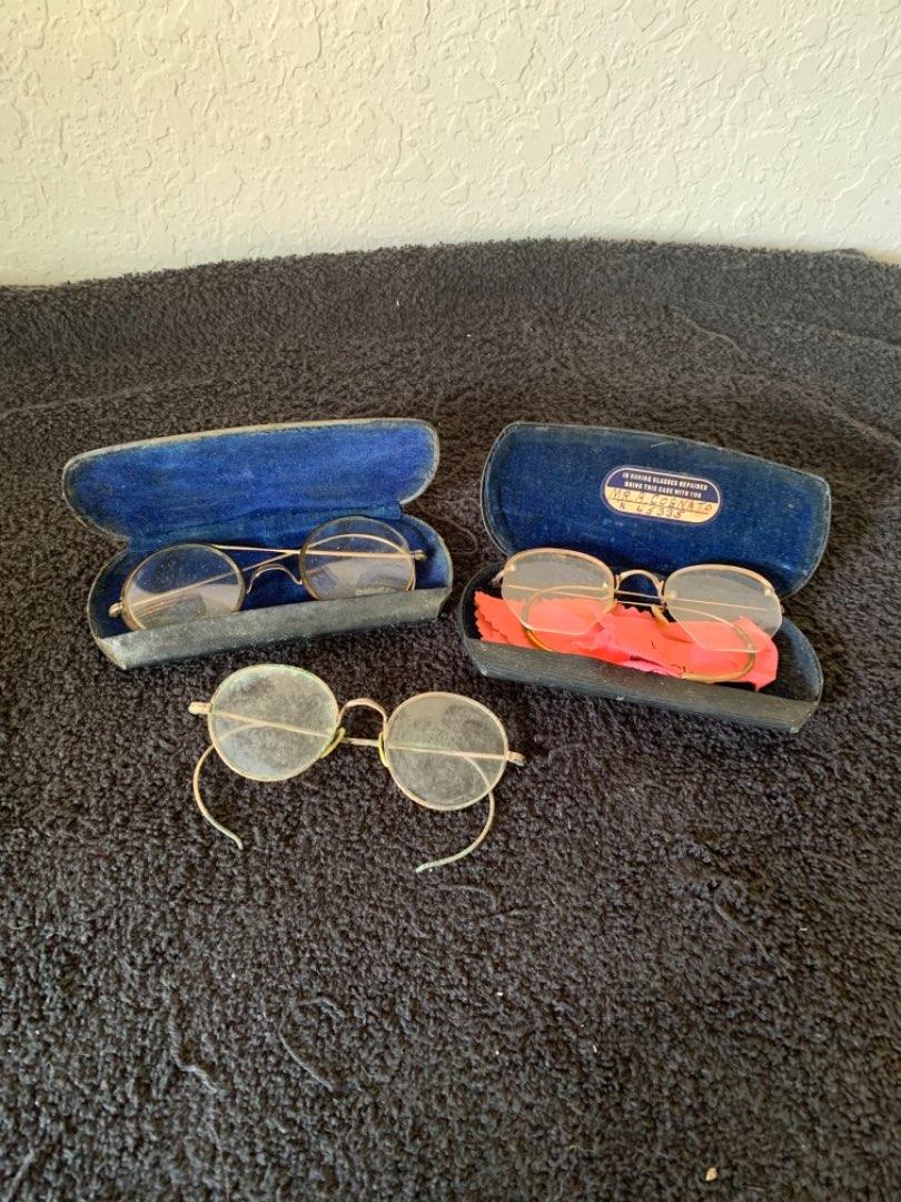 Lot # 261  Lot Of 3 Pair Antique Eyeglasses. 1 Pair 12k Gold Filled