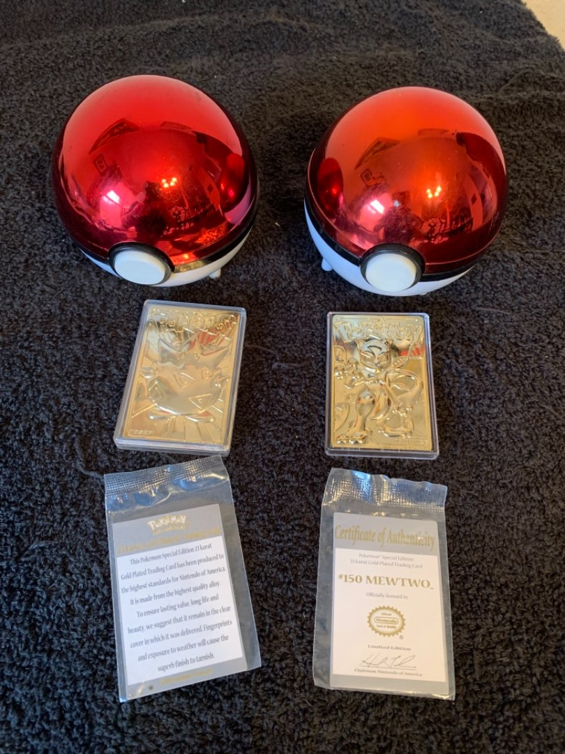 Lot # 267  2 Vintage 1999 Burger King Pokémon Balls & 24k Plated Trading Cards. See Below