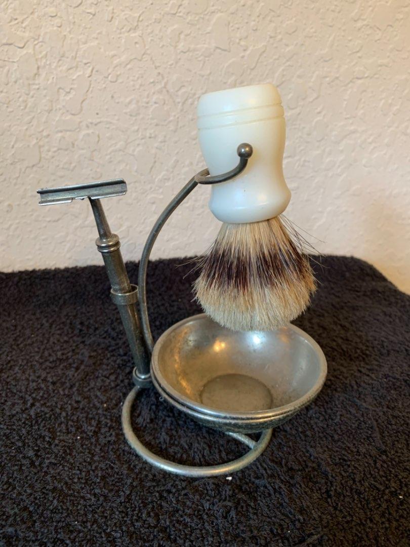 Lot # 273 Antique Complete Chrome Shaving Stand; Bowl, Razor, & Brush