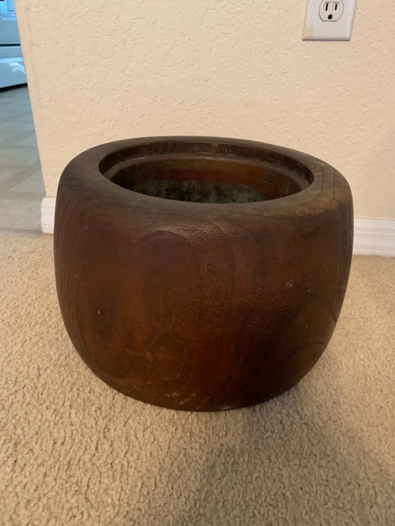 Lot # 275 Very Nice Solid Vintage Walnut Wood Plant Pot With Copper Liner