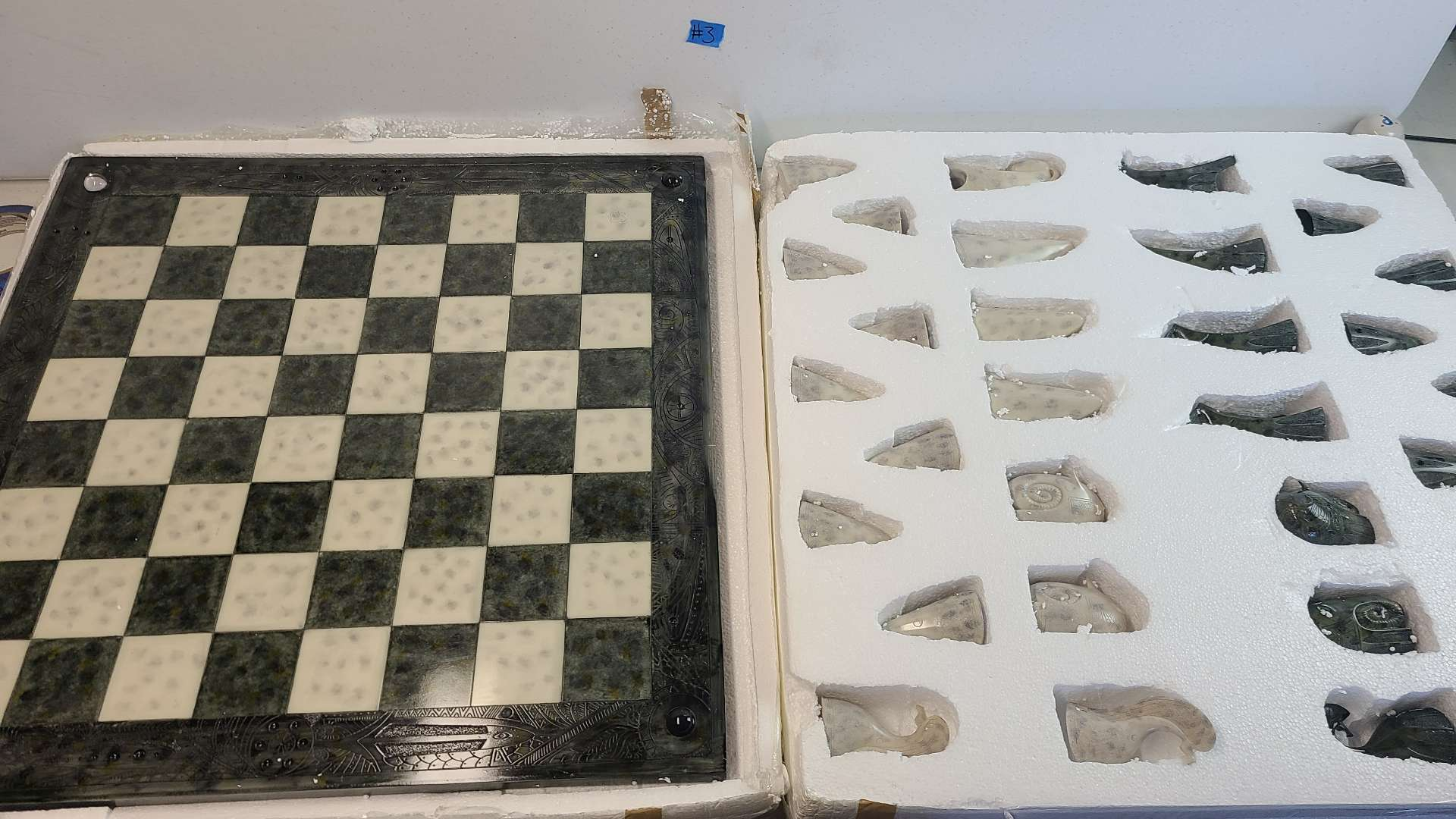 Lot # 3 Absolutely Stunning Stone Chess Board & Chess Pieces-A Must See