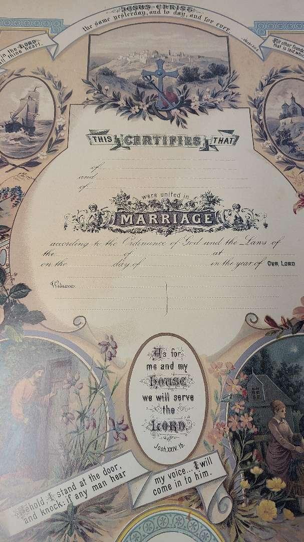 Lot # 6 Replica Victorian Marriage Certificate Poster