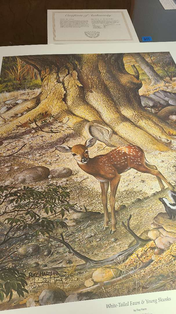 Lot # 19 Lot of 2 Deer Inspired Signed & Numbered Lithographs
