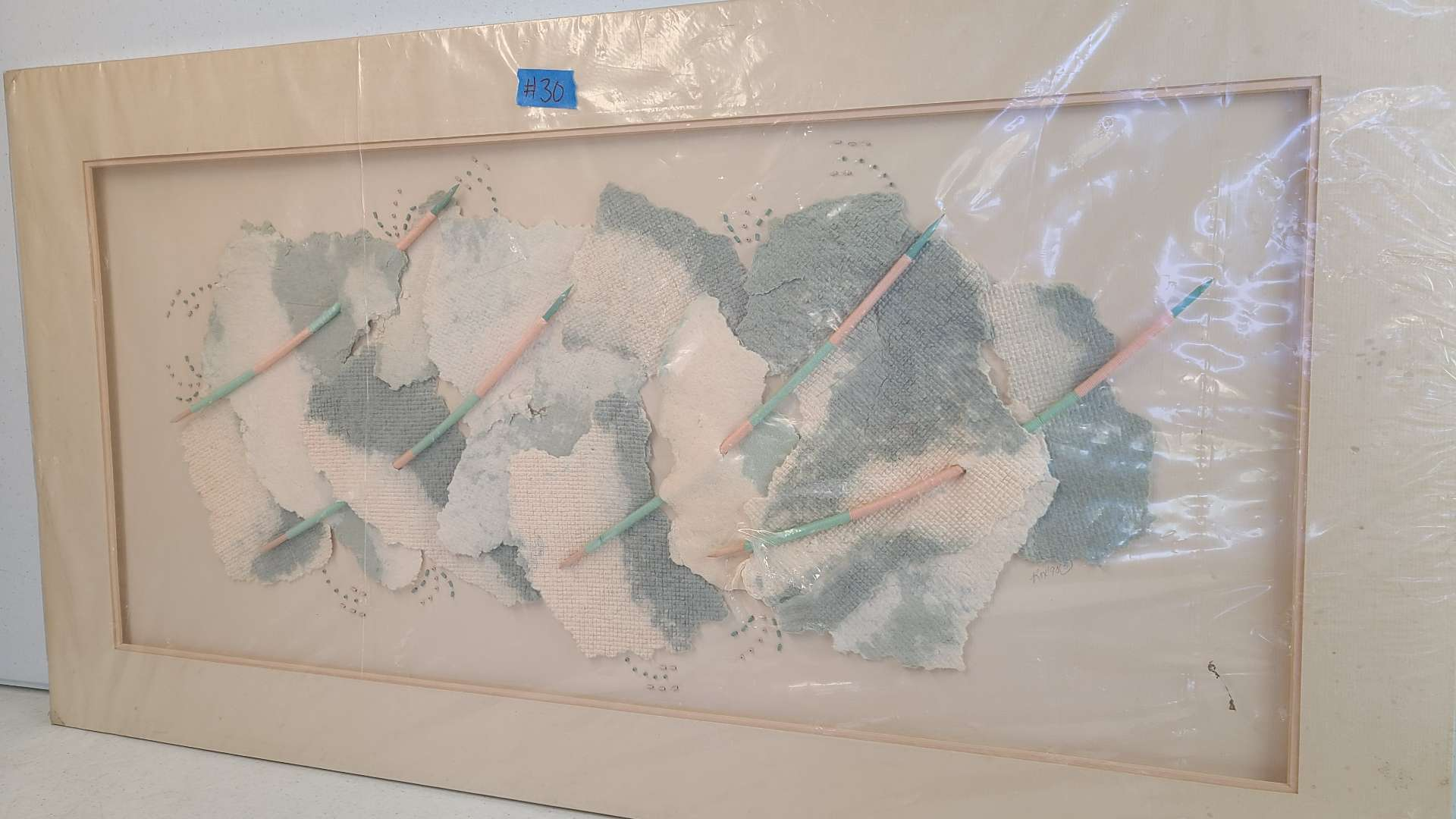 Lot # 30 Pink & Grey Tone abstract Art Piece