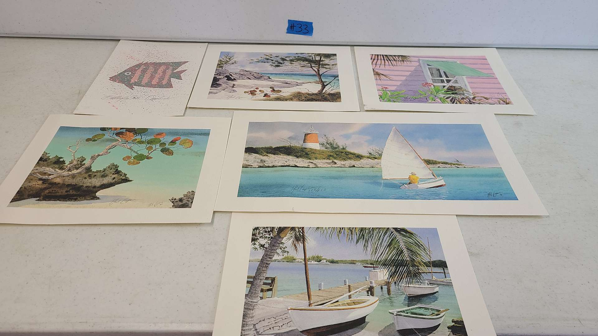 Lot # 33 Lot of 6 Ocean & Seaside Themed Signed Lithographs