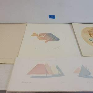 Auction Thumbnail for: Lot # 34 Lot of 4 Ocean Themed Signed Lithographs