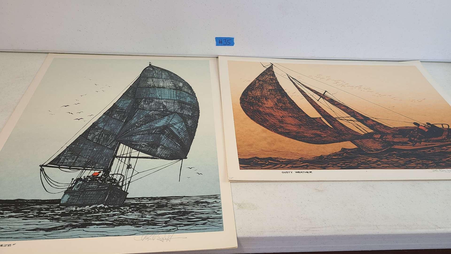 Lot # 35 Lot of 2 Sailboat Lithographs