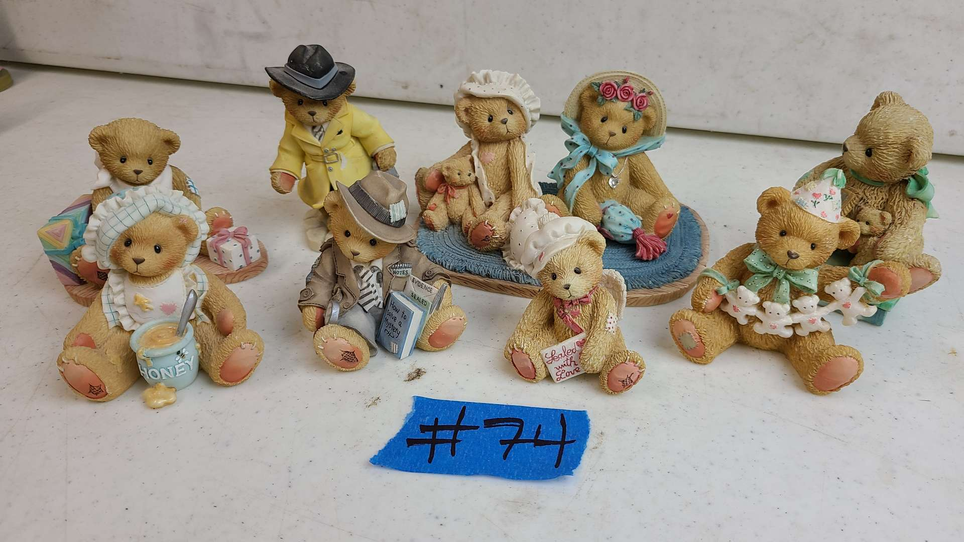 """Lot # 74 Lot of 8 Enesco """"Cherished Teddies"""" Collectable Figurines"""