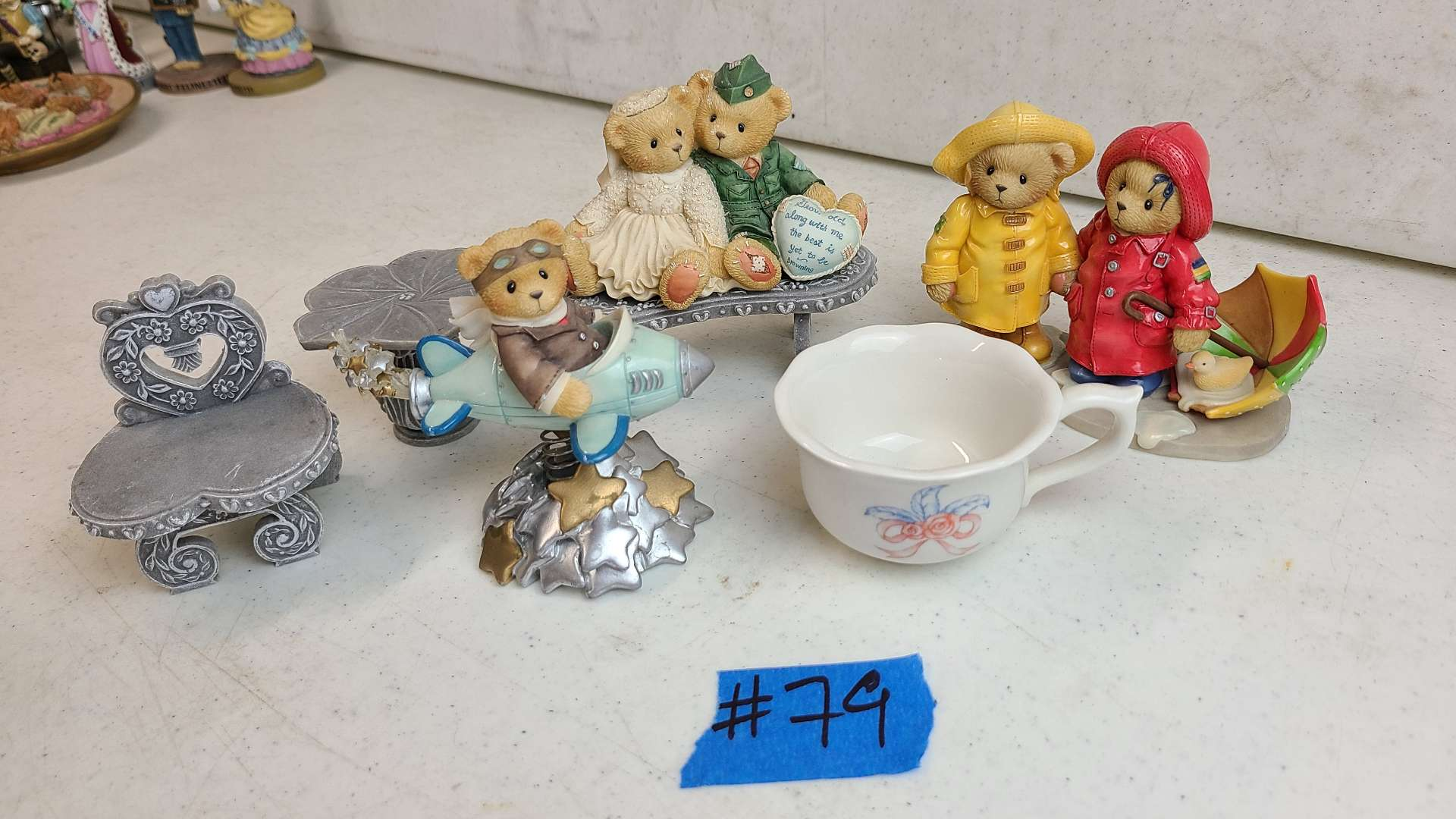 """Lot # 79 Lot of 3 Enesco """"Cherished Teddies"""" Collectable Figurines & 3 Pedestals"""