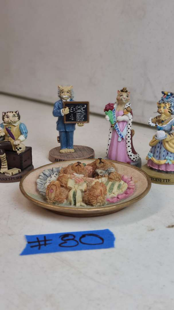 """Lot # 80 ERTL Litimted Edition Numbered """"The Cat Hall of Fame"""" Figurines"""