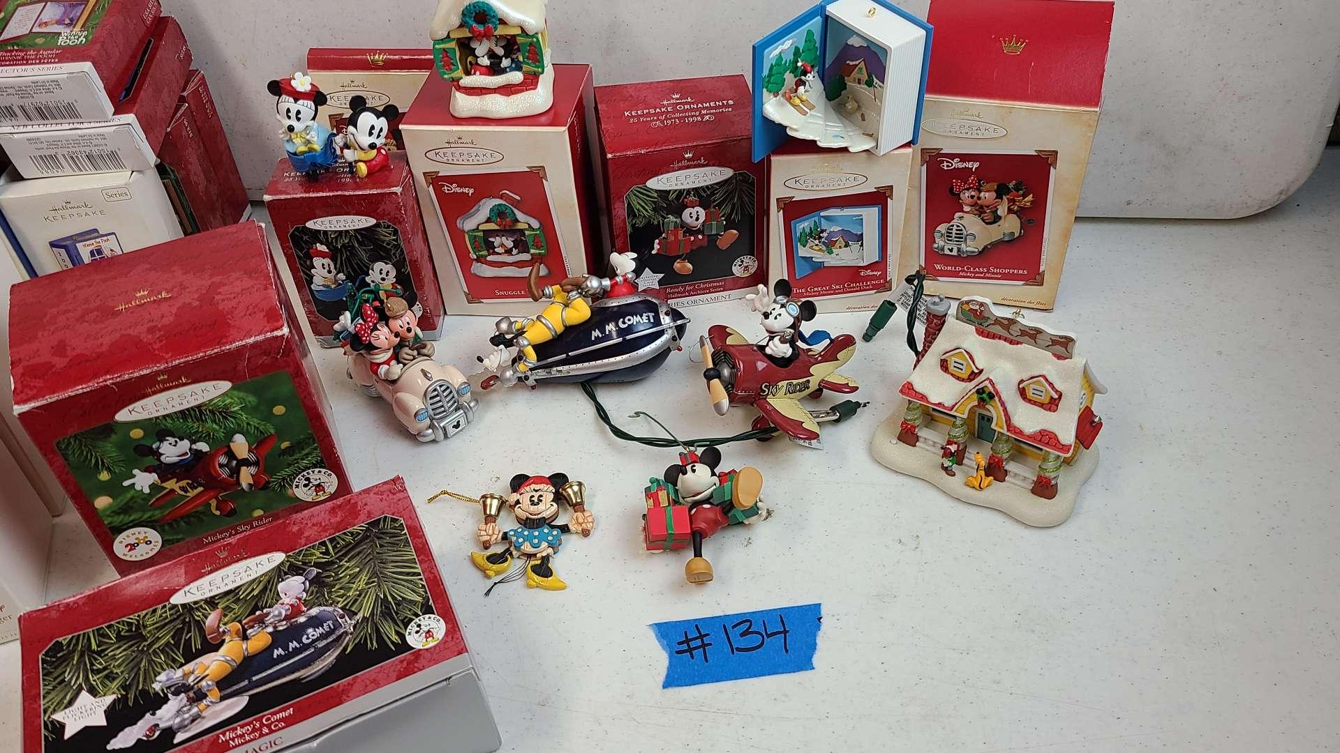 Lot # 134 Hallmark Disney Ornaments & Christmas Village House