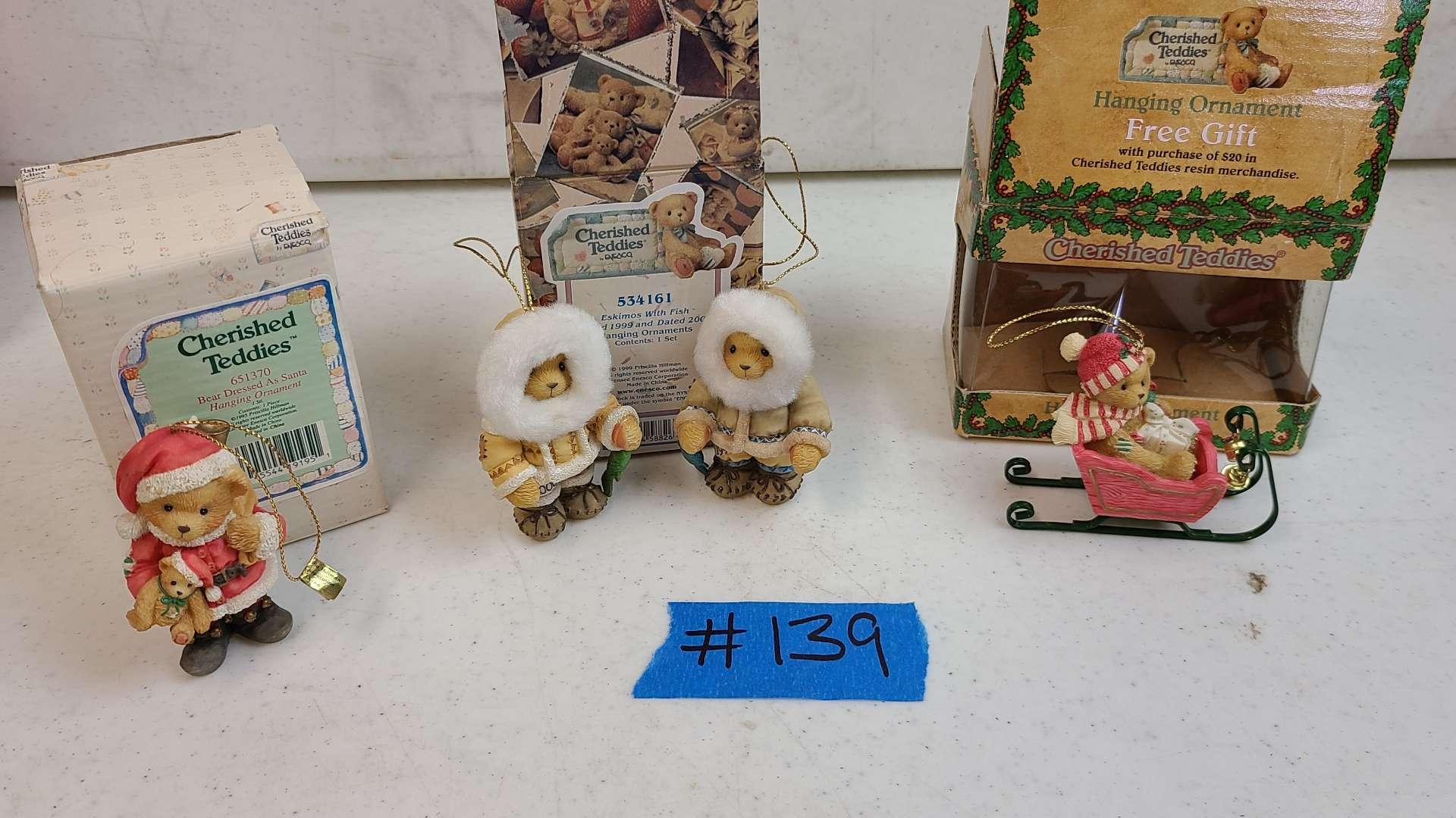 "Lot # 139 Enesco ""Cherished Teddies"" Christmas Ornaments"
