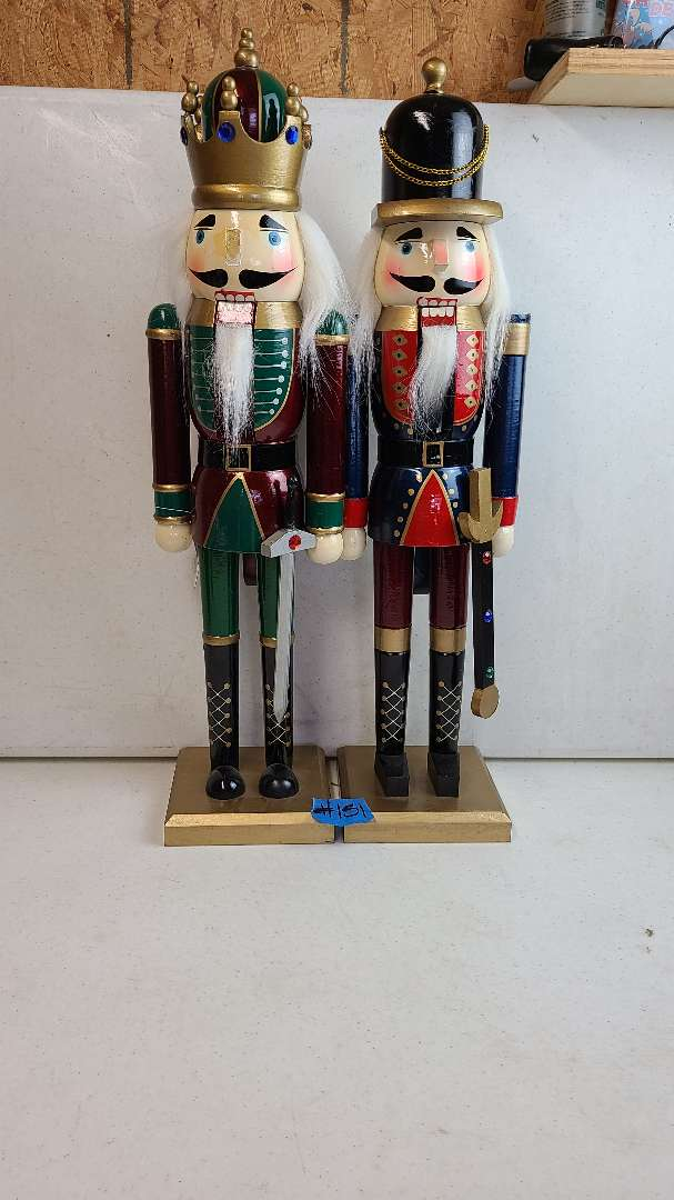 Lot # 151 2 18 Inch High Nutcrackers (please note one has no nose)