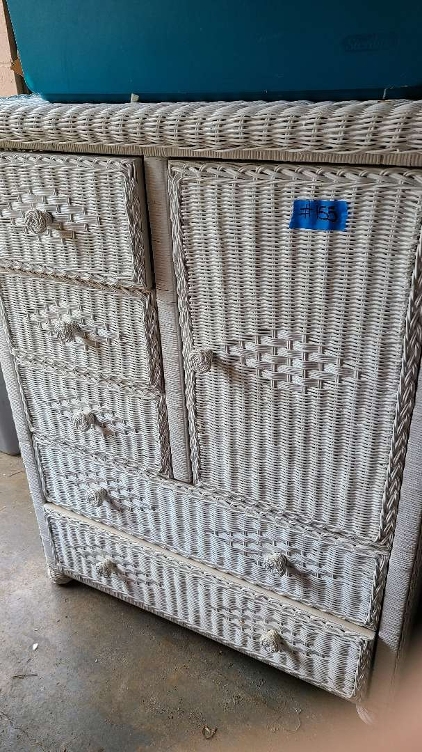 Lot # 155 White Wicker Dresser W/ Cabinet