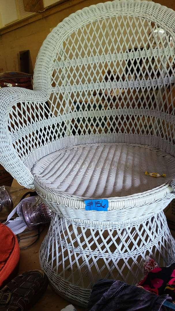 Lot # 156 White Wicker Chair w/o Cushion