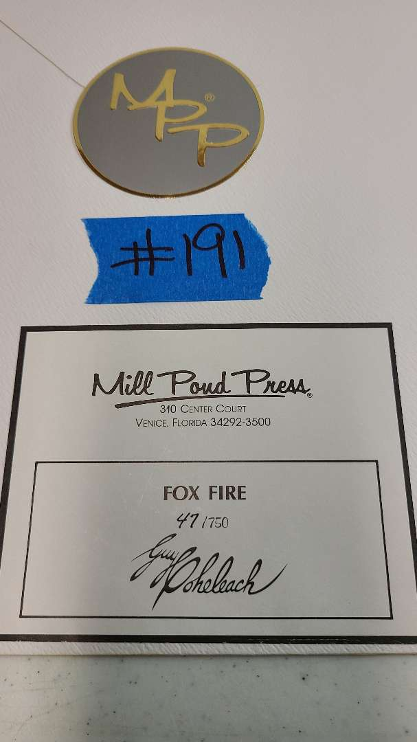 """Lot # 191 """"Fox Fire"""" Signed & Numbered Lithograph"""