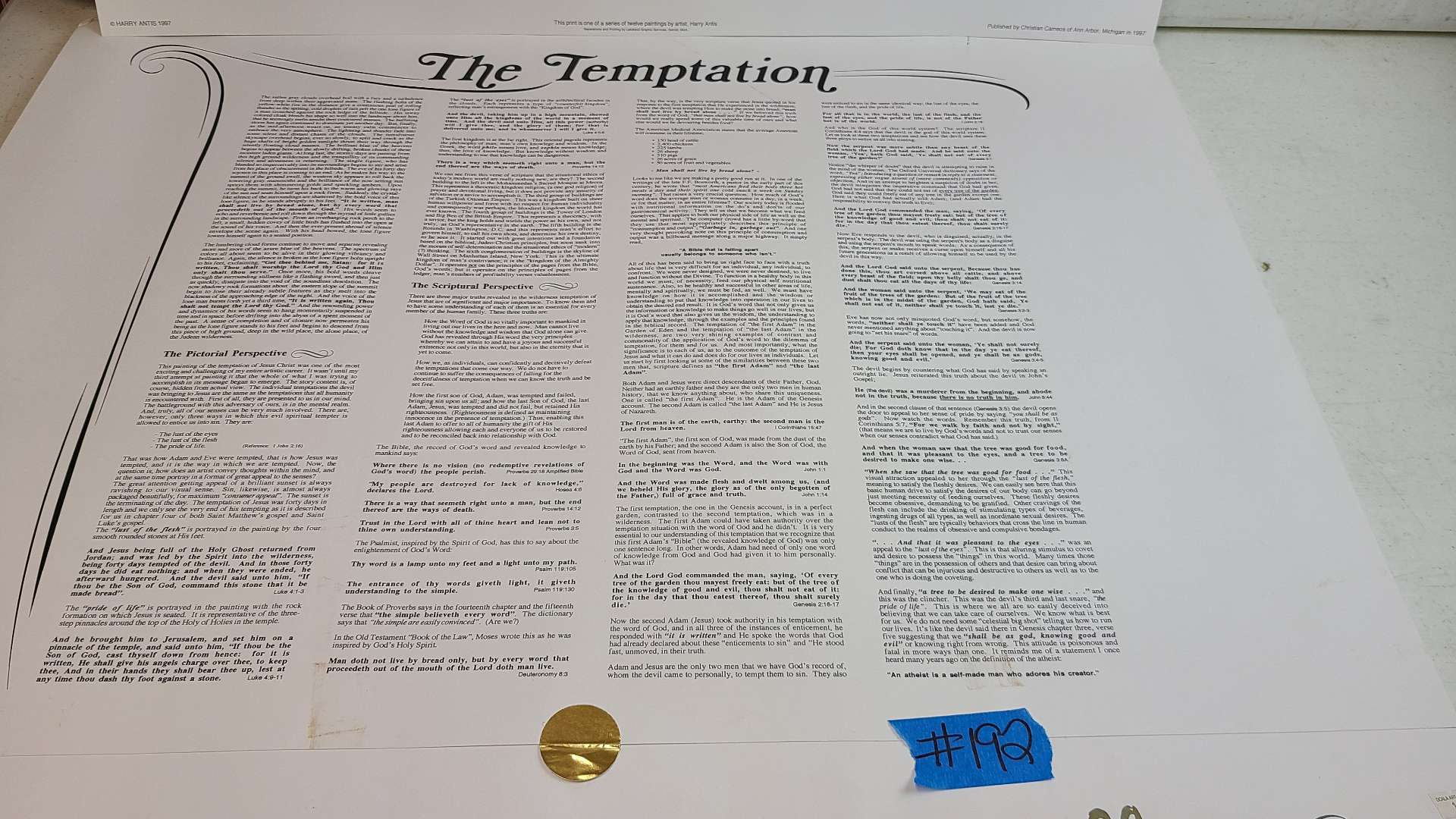 """Lot # 192 """"The Temptation"""" Signed & Numbered Lithograph"""