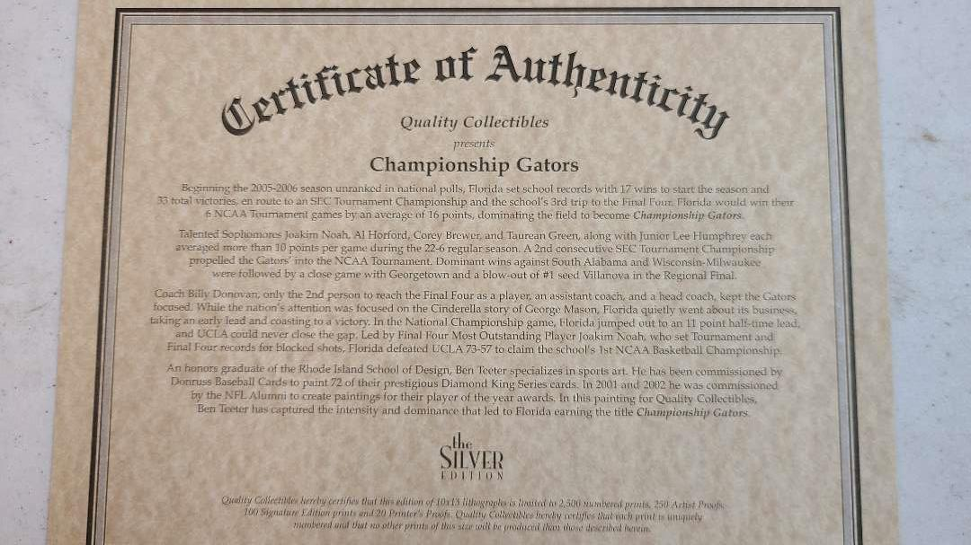 """Lot # 194 """"Champinship Gators"""" Silver Edition Signed & Numbered Lithograph w/ CoA"""