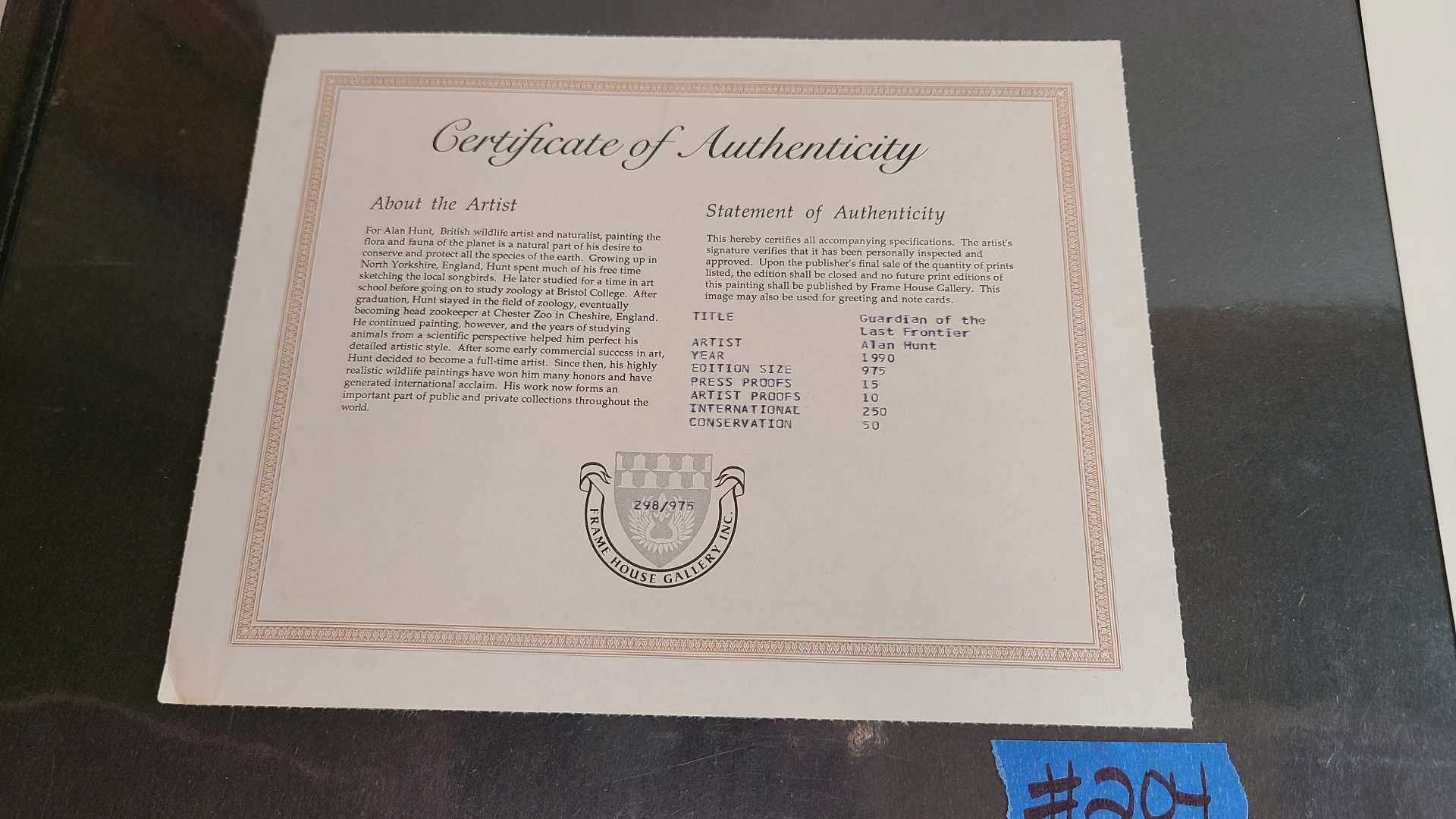 """Lot # 204 """"Guardian of the Last Frontier"""" by Alan Hunt Signed & Numbered Lithograph w/ CoA"""