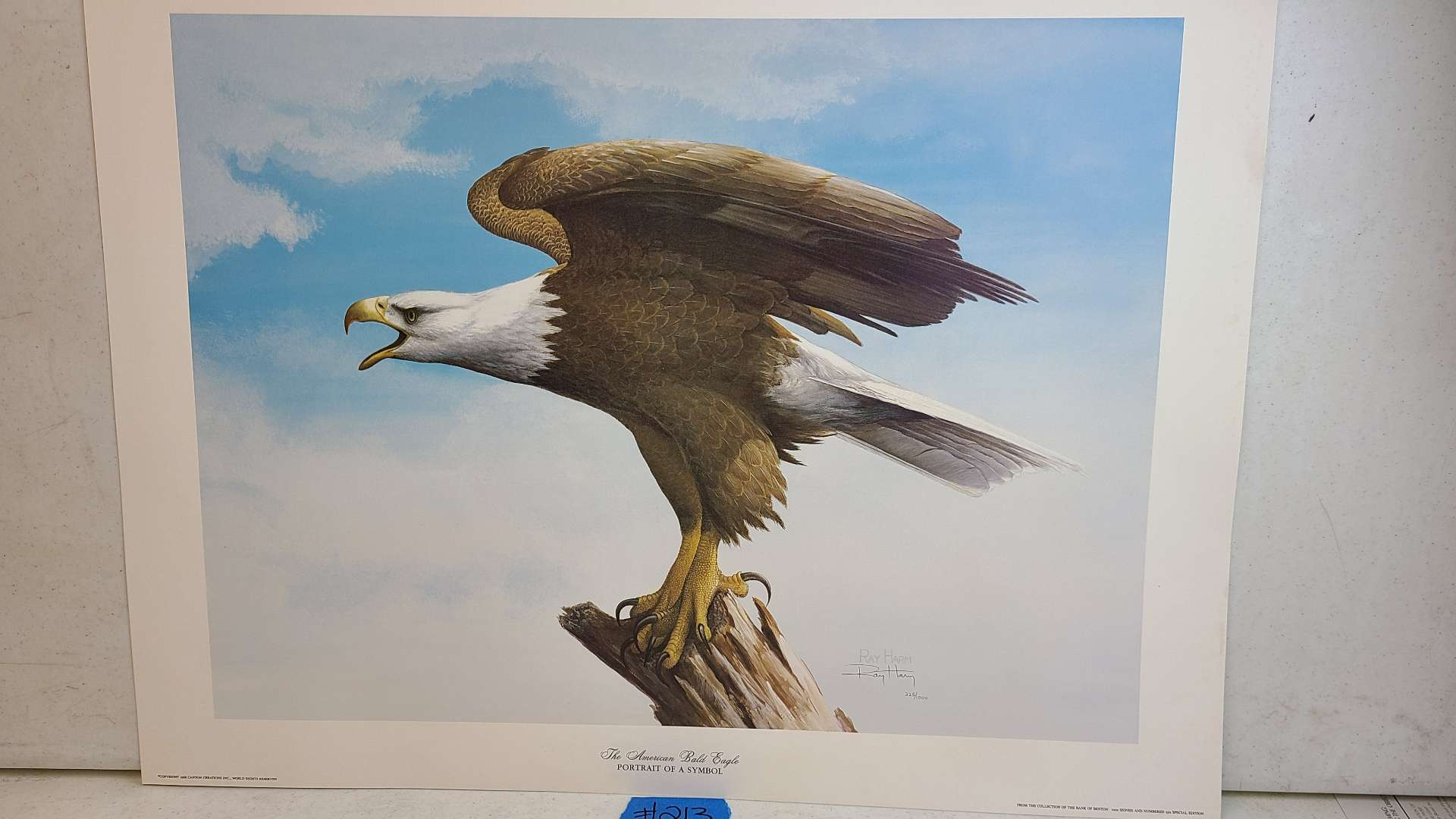 """Lot # 213 """"The American Bald Eagle"""" by Ray Harm Signed & Numbered Lithograph w/ CoA"""