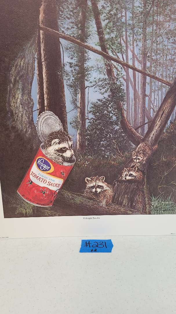 """Lot # 231 """"Midnight Bandits"""" by Harry Duncan Signed & Numbered Lithograph (X3)"""