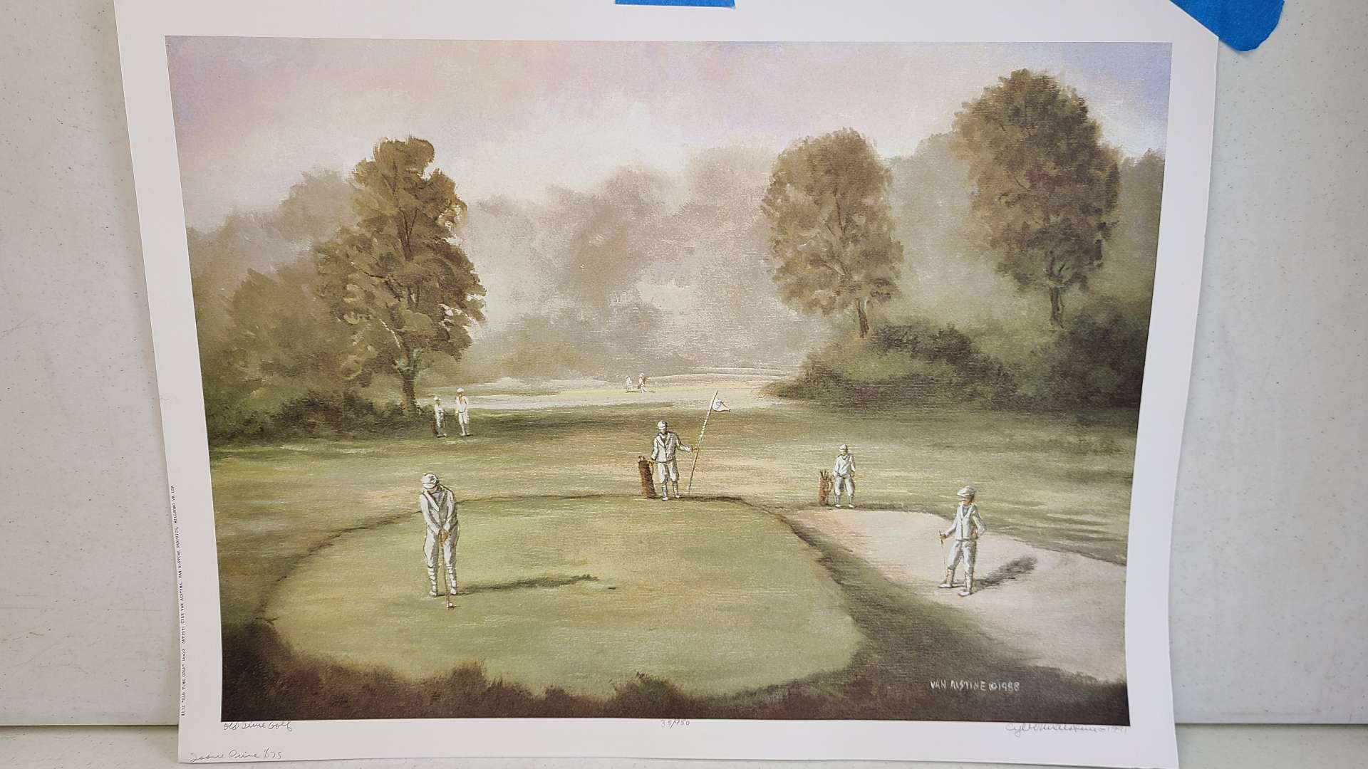 """Lot # 245 """"Old Time Golf"""" by Van Alstine Signed & Numbered Lithograph"""
