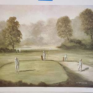"""Auction Thumbnail for: Lot # 245 """"Old Time Golf"""" by Van Alstine Signed & Numbered Lithograph"""