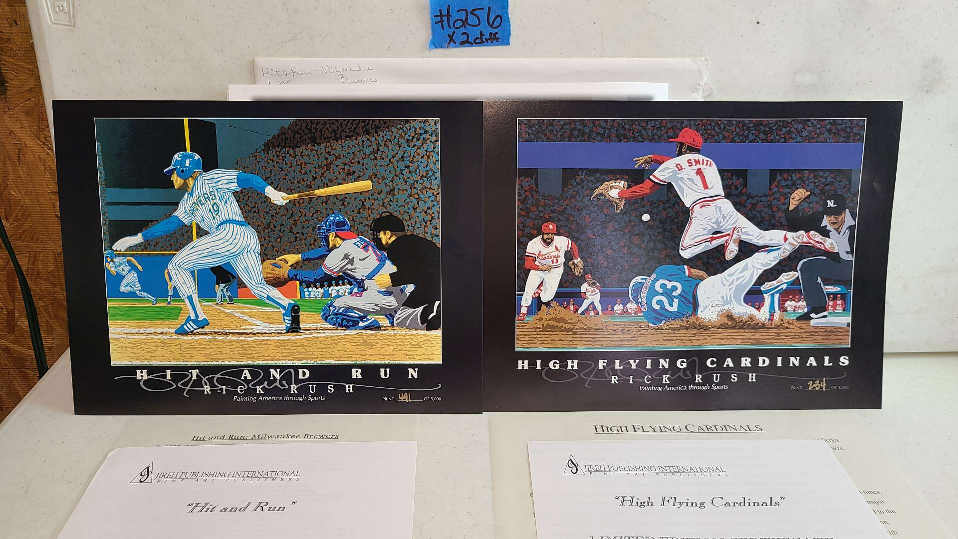 """Lot # 256 """"High Flying Cardinals"""" & """"Hit and Run"""" By Rick Rush Limited Edition Signed & Numbered Print"""